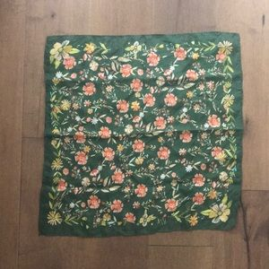 Anthropology Vismaya Green Floral Silk Scarf